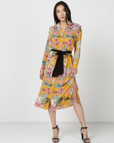 Utopia Tropical Print Shirt Dress With Belt Yellow