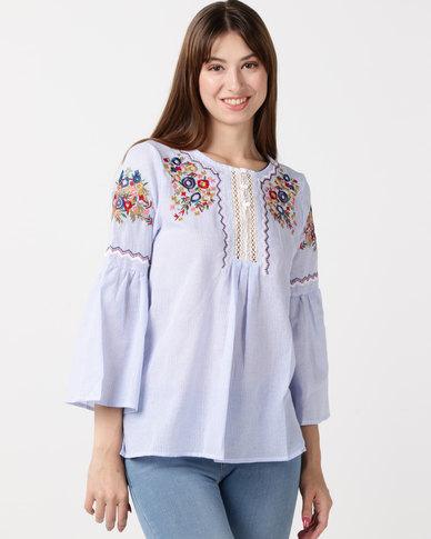 Utopia Stripe Embroidered Tunic Blue