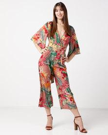Utopia Print Volume Kimono Jumpsuit Pink
