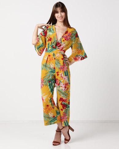 Utopia Volume Kimono Jumpsuit Mustard