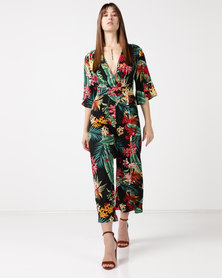 Utopia Print Volume Jumpsuit Black