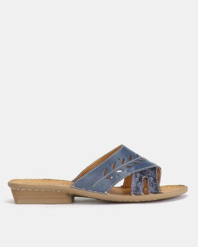 Tsonga Leather Bashise Sandals Verlino Relaxa/Bluenotte Metal Grain
