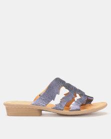 Tsonga Leather Holwozi Sandals Bluenotte Metal Grain