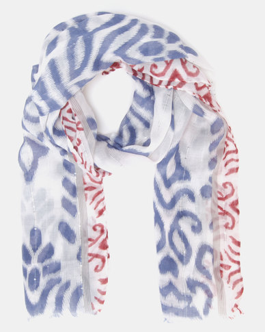 Lily & Rose Patterned Scarf Blue