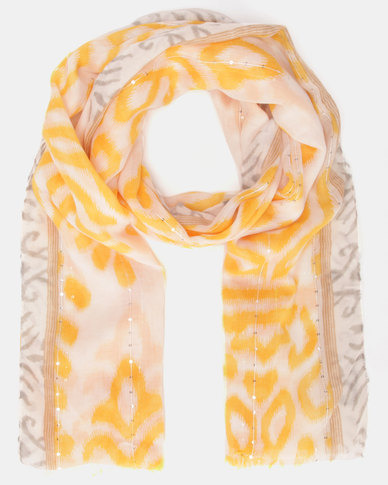Lily & Rose Patterned Scarf Yellow