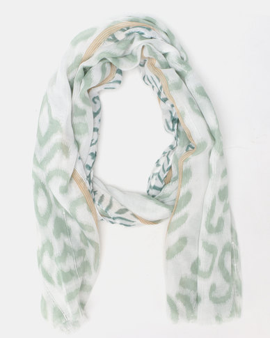 Lily & Rose Patterned Scarf Green