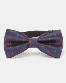 Xcalibur Bowtie Navy/Red Dots