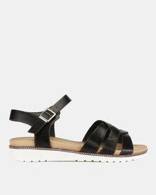 Franco Ceccato Strappy Vamp Ankle Strap Sandals Black