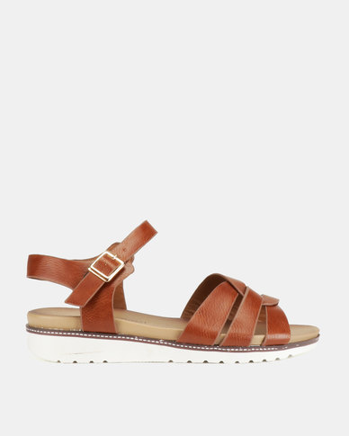 Franco Ceccato Strappy Vamp Ankle Strap Sandals Tan