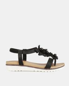 Franco Ceccato Flower Trim Thong Ankle Strap Sandals Black