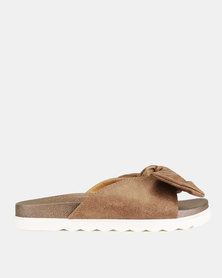 Franco Ceccato Open Toe Knot Detail Push In Sandals Taupe