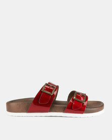 Franco Ceccato Two Bar Buckle Trim Push In Sandals Red