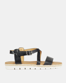 Franco Ceccato Cross Over Slingback Sandals on Cleated Sole Navy