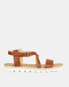 Franco Ceccato Cross Over Slingback Sandals on Cleated Sole Tan