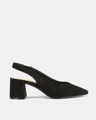 Queue Suede Pointy Slingback on Block Heels Black