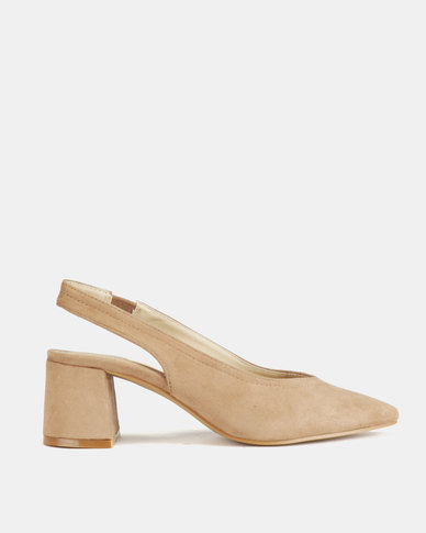 Queue Suede Pointy Slingback on Block Heels Taupe