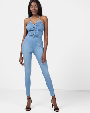 ccbef342fdd Sissy Boy Denim Jumpsuit With Criss Cross Detail Med Vintage Blue