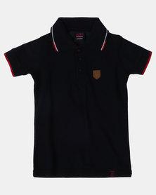 Soviet Boys Swansea Short Sleeve Pique Golfer Navy