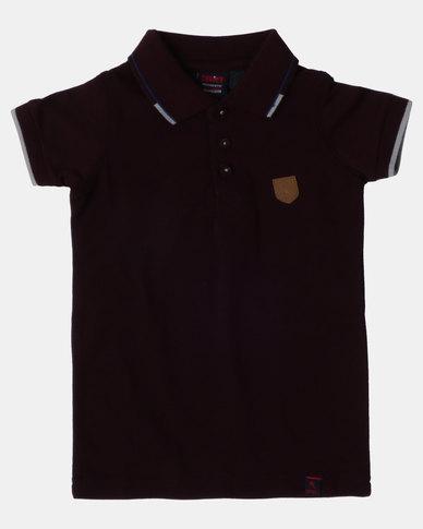 Soviet B SWANSEA Short Sleeve Pique Golfer Bordeaux
