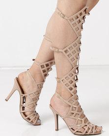 Dolce Vita Laser Buckle Heel Sandals Beige
