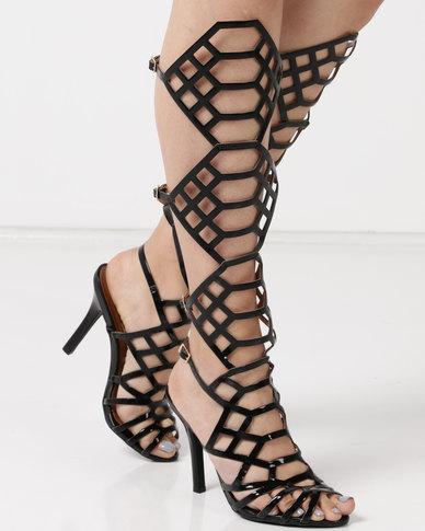 Dolce Vita Laser Buckle Heel Sandals Black
