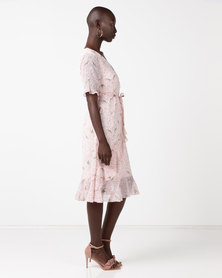 New Look Ditsy Floral Tea Dress Pink