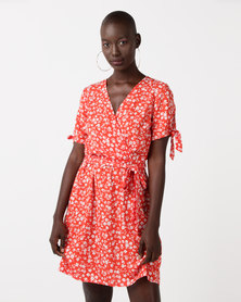 New Look Ditsy Floral Print Wrap Dress Red