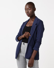 New Look Cross Hatch Blazer Navy