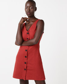 New Look Cross Hatch Button Front Pinafore Dress Red