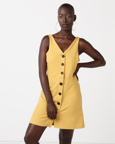 New Look Cross Hatch Button Front Pinafore Dress Yellow