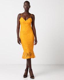 New Look Lace Fishtail Hem Party Bodycon Dress Bright Orange