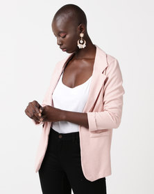 New Look Cross Hatch Stretch Blazer Nude