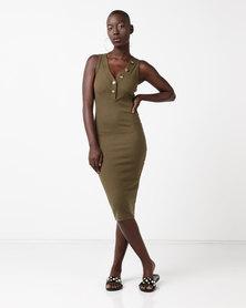 New Look V-Neck Sleeveless Jersey Midi Dress Khaki