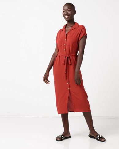 New Look Midi Shirt Dress Rust