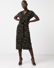 New Look Leopard Print Midi Shirt Dress Dark Green