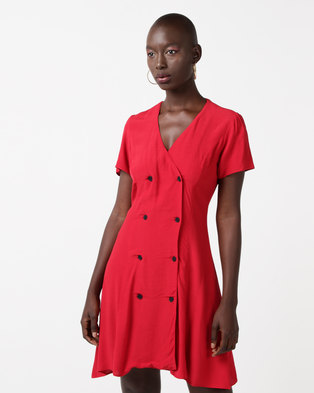 New Look Double Breasted Tea Dress Red