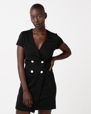 New Look Button Front Tuxedo Dress Black