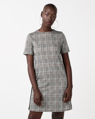 New Look Check Side Stripe Jersey Tunic Dress Grey
