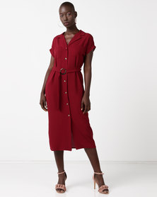 New Look Button Front Belted Midi Shirt Dress Burgundy