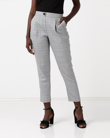 New Look Prince of Wales Check Tapered Trousers Grey