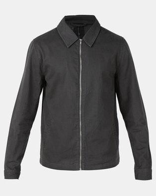 New Look Zip Through Shacket Dark Grey