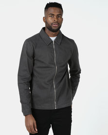 New Look Zip Through Shacket  Dark Grey