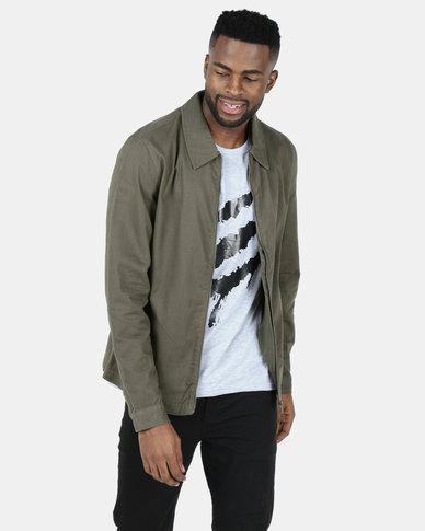 New Look Zip Through Shacket Dark Khaki