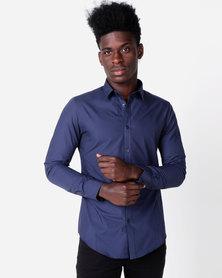 New Look Poplin Long Sleeve Shirt Navy