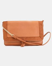 New Look Brandy Plain Crossbody Bag Tan
