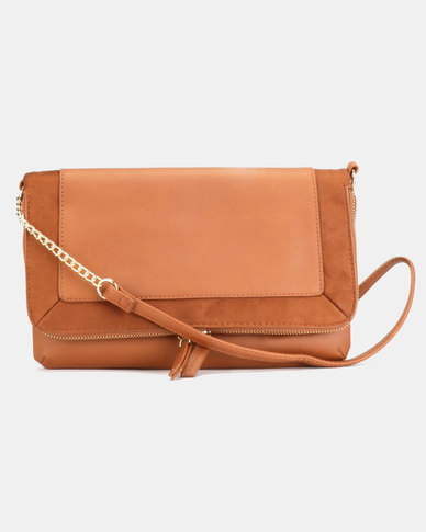 New Look Brandy Plain Crossbody Bag Tan