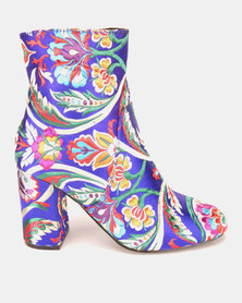 Dolce Vita Kiev Brocade Ankle Boots Royal Blue
