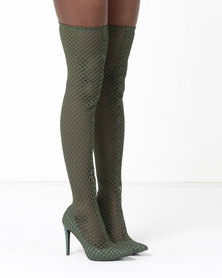 Dolce Vita Vegas Net Thigh High Boots Olive