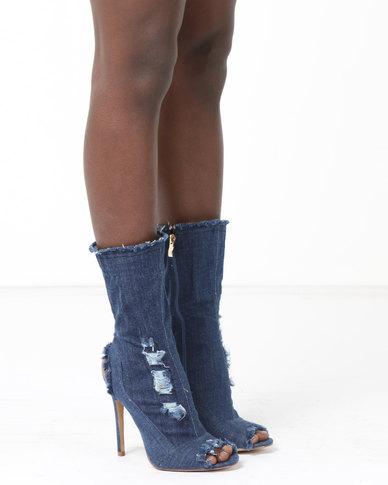 Dolce Vita Houston Peep Toe Boots Dark Blue