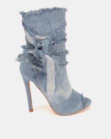 Dolce Vita Houston Peep Toe Boots Light Blue